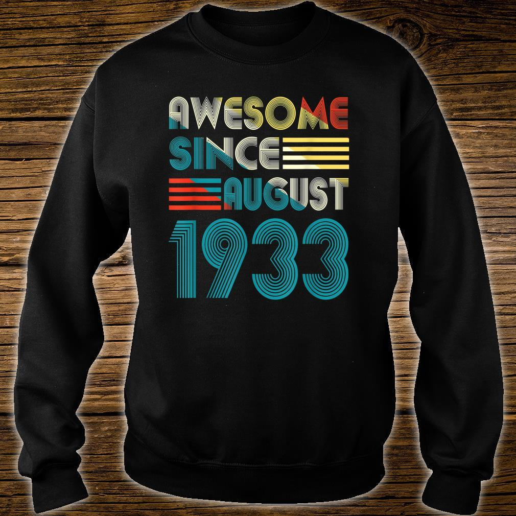 Awesome Since August 1933 Shirt 86th Birthday 86 Yrs Shirt sweater