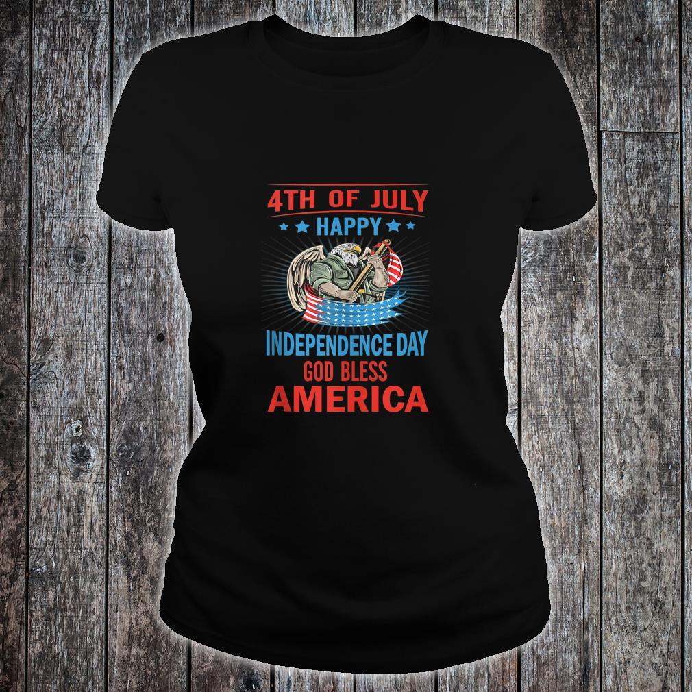 Independence Day God Bless America Eagle Patriot Design Shirt ladies tee