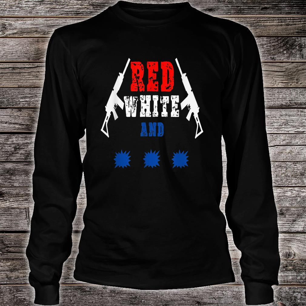Red white and pew_ pew_ pew Independence Day Shirt long sleeved